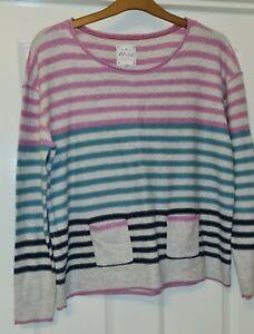 Mistral striped jumper with pocket detail size 16 pink, green, navy, natural