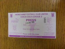 18/04/2009 Ticket: Morecambe v Notts County [Press] . Bobfrankandelvis the selle