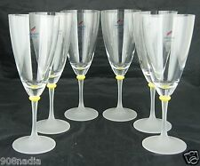 MODERNIST AUSTRIAN CRYSTAL WINE GLASS SET 6 FROSTED STEM,YELLOW RING,RARE