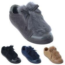 Mujer señoras de la plataforma de Plano Sin Cordones Piel Cordones Zapatillas SNEAKERS Zapatos De Salón Talla