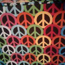 Multi Color Peace Signs Fabric Scrap Quilt Sew Craft