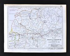 1850 Johnston Military Map Napoleon Russia Campaigns 1812 Moscow Route Battles