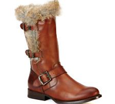 NEW Frye Jamie Luxe Genuine Rabbit Fur Moto Boot in REDWOOD Sz 6M NIB $458