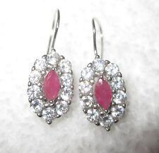 Sterling Silver CZ & Pink Sapphire Earrings Oval Dangle Drop --New!