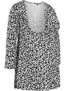 Chemise de Maternité Shirt Grossesse 3/4 Bras Enceinte Fleurs Motif Noir 923116