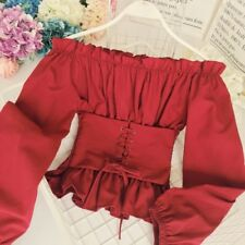 Chic Ladies Sexy Ruffle Off Shoulder Shirt Lace Up Waist Long Sleeve Blouse Tops