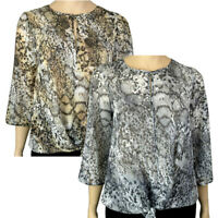 PLUS SIZE ANIMAL PRINT SEQUINED TIE FRONT BLOUSE TOP Sizes 16 - 28