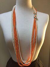 "Vintage Orange White Beads 36"" Long Necklace Flower Clasp 5 strands"