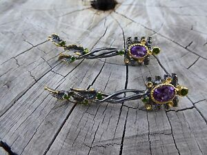 Empowering Crystals Amethyst Wood Catcher Twig Earrings Boho Handcrafted Indie