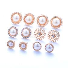 6 Pairs Elegant Flower Pearl Crystal Rhinestone Ear Stud Fashion Earrings Chain
