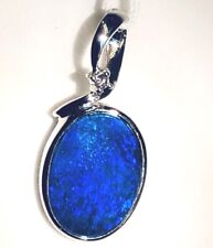 ELECTRIC BLUE Australian Fire Opal Diamond 14k White Gold Ladies Pendant NWT