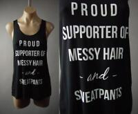 Messy Hair & Sweatpants Funny Quote Graphic Black Tee Tank Top 236 mv Shirt M L