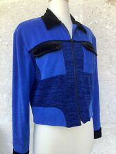 New listing Vintage 80s Jacket Womens Small Med Black Blue Multi Textures Zip Semi Cropped