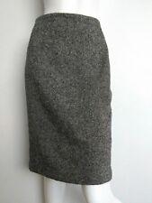 HOBBS wool tweed skirt size 8 knee length wool blend black/ivory lined