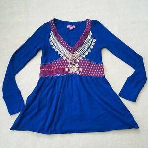 Monsoon V-neck Tunic Patchwork Embellish Hotchpotch Hippy Boho Long Sleeve 12 G6