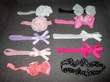 Baby Infant Girls Headband Lot Babies R Us Carters Pink Purple Black Dot Sparkle
