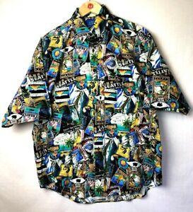 Lobo By Pendleton Hawaiian Shirt Mens sz Large 100% Cotton Travel Advertising