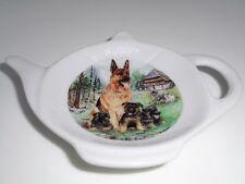 BN Porcelain Dog Tea Bag Tidy, Tea Bag Rest, Alsatian Puppies Gift Tea Bag Rest