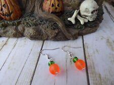 Calabaza Naranja Vidrio y Cristal Perla Gota Colgante Gancho Pendientes De Halloween & Bolsa