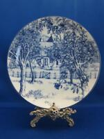 Williams Sonoma LES DOMAINES Blue White Landscape Dessert Salad Plate Apple Tree