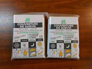 LOT DE 2 COUVERTURES DE SURVIE OR / ARGENT