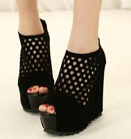 Womens High Heel Wedge Hollow Zip Ankle Boots Platform Peep Toe Sexy Club Shoes