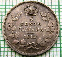CANADA GEORGE V 1912 5 CENTS, SILVER NICE PATINA