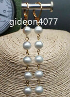 Excellent luster AAA 6-7mm South Sea AKOYA White Pearl Earrings 14K YELLOW GOLD