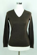 Talbot's 100% Merino Wool V-Neck Pullover Sweater Chocolate Brown Size Petite Sm