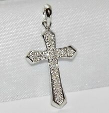 9ct White Gold 0.15ct Diamond Cross Pendant - NEW - Solid 9K Gold