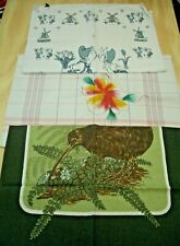 3 Tea Towels  Collectable Lot # 5. New Zealand, Holland, Flower Design - Charity