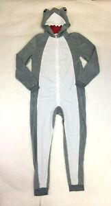 Komar Kids Boys Shark Gray Hooded One-Piece Pajamas Blanket Sleeper 8 10-12