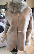 Auth BLUE DUCK Shearling, Sheepskin Jacket with Fur Trimmed Hood, Size S