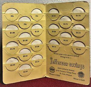 "💲 Pre 1964 "" JEFFERSON SAVINGS "" Coin Saver:  (20) Quarter Slots $5.00 Total 💲"