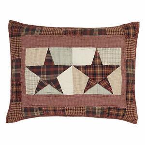 Abilene Star Red, Tan, Brown, Gray Star Country King Queen Pillow Sham