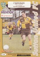 Sutton United v Grays Athletic 2001/2 (15 Jan) Isthmian League Cup