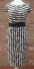 Marks & Spencer Per Una Humbug Striped Ripple Black/Cream stretch Dress size 14