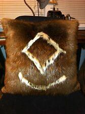 Genuine American Beaver With Bobcat Inlay Fur Pillow