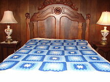 Handmade Handcrafted Crochet Afghan Throw Blanket  Blue Granny Square Pattern
