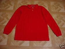Basic Editions Boys Deep Red Long Sleeve Polo Shirt Size Xs 4-5