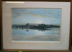 """Sir Peter Scott Signed Print - """"Geese on Mudflats"""" 1939"""
