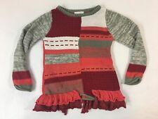 Naartjie Kids Size Small 4T Long Sleeve Ruffle Bottom Sweater Orange Gray Knit