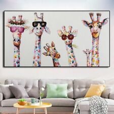 Giraffe Animal Family Poster Painting Wall Art Picture Living Room Home Decor