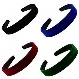 "Coloured Velvet Feel Alice Band Hair Band Headband 2.5cm (1"") - Hair Accessories"