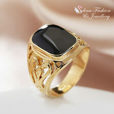 18K Yellow Gold Plated Simulated Agate Stylish Black Hollow-out Band Men`s Ring