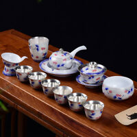pure sterling silver tea set health care Chinese porcelain tea pot holder teacup