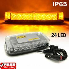 24 LED Amber Warning Strobe Light 12V 24V DC Car Flashing Magnetic Beacon Lamp