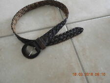 vintage belt plaited brown  72cm 30cm leather - leather buckle 80'S free post