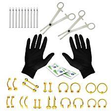 BodyJ4You 36PCS Piercing Kit Goldtone Steel 14G 16G Belly Ring Tongue Tragus