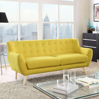 Mid-Century Modern Tufted Sunny Upholstered Fabric Living Room Sofa Couch